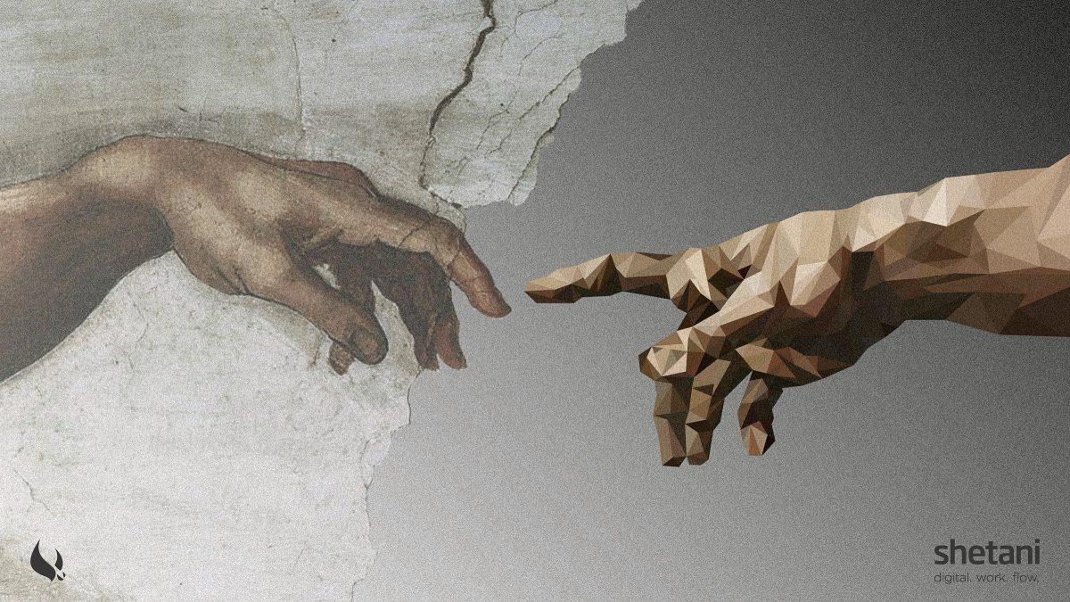 Zwei Hände die mit dem Zeigefinger aufeinander zeigen