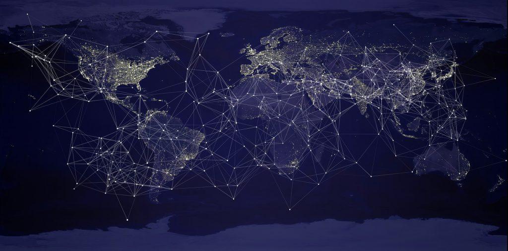 Bild Weltkarte mit Netzwerk